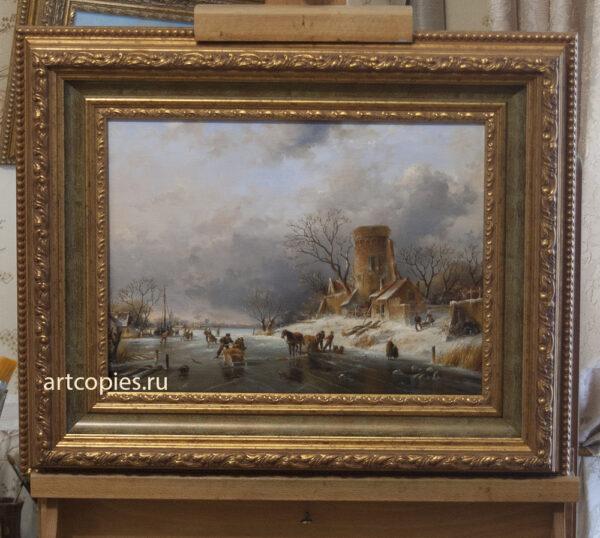 Charles Henri Joseph Leickert Dutch winter scene Sun