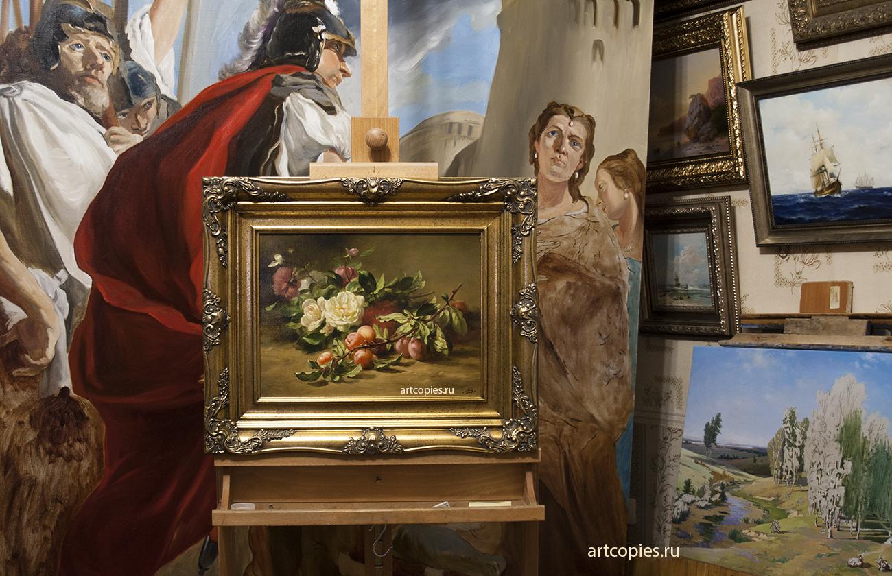 """Копия картины """"Ветка со сливами"""" Gustave Emile Couder в интерьере мастерской."""