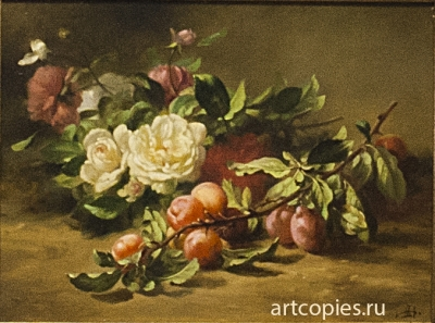 Peonies-and-Plums-by-Gustave-Emile-Couder