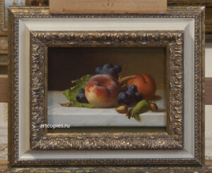 "Emilie Preyer ""Still life with peaches and grapes"""