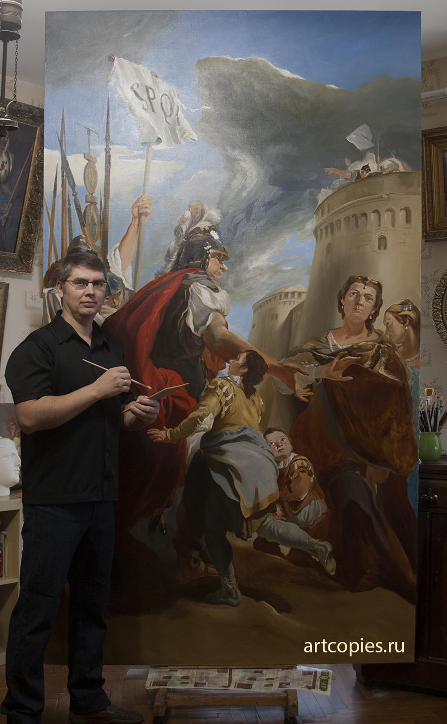 Копирование картины Тьеполо «Кориолан под стенами Рима» из коллекции музея Эрмитаж.