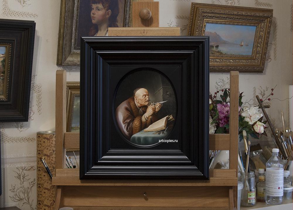 """Копия картины """"Ученый, затачивающий перо"""" Gerrit Dou"""