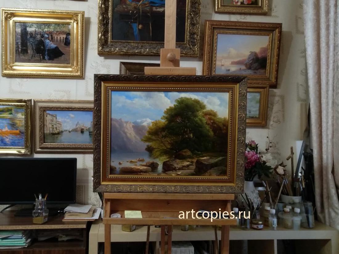 """Копия картины """"The Lake of Thun"""" Alexandre Calame в интерьере мастерской."""