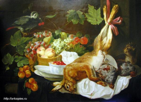 """Копия картины """"Заяц, фрукты и попугай"""" Фейт, Ян."""