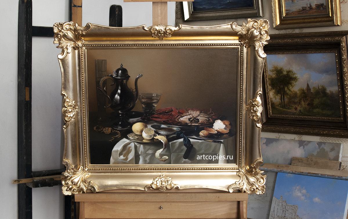"""Копия картины """"Натюрморт с крабом и омаром"""" Питер Клас в интерьере нашей мастерской"""