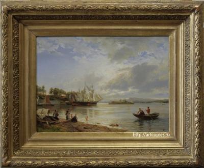 Копия картины «Морской пейзаж, фьорды» Ханс Гуде