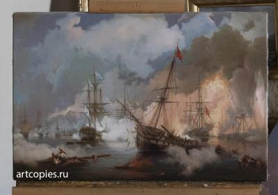 Копия картины И. К. Айвазовского Наваринский бой