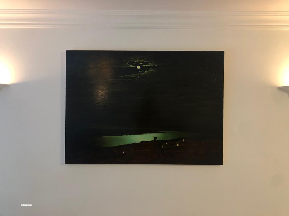 """Копия в картины А.Куинджи """"Лунная ночь на Днепре"""" в интерьере"""